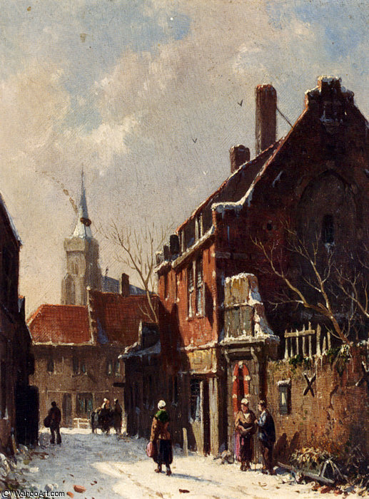 Figures in the streets of a dutch town in winter by Adrianus Eversen (1818-1897, Netherlands)