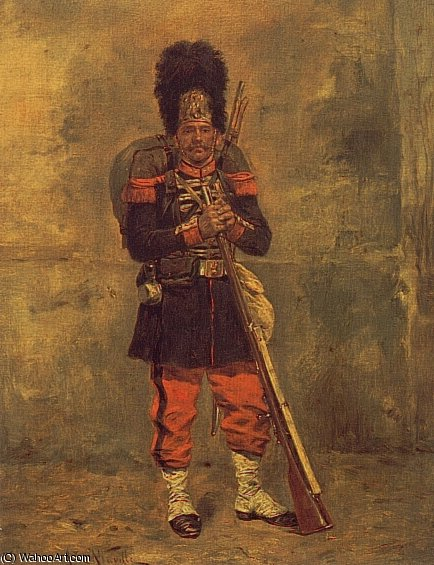 French grenadier by Alphonse Marie Adolphe De Neuville (1836-1885, France)