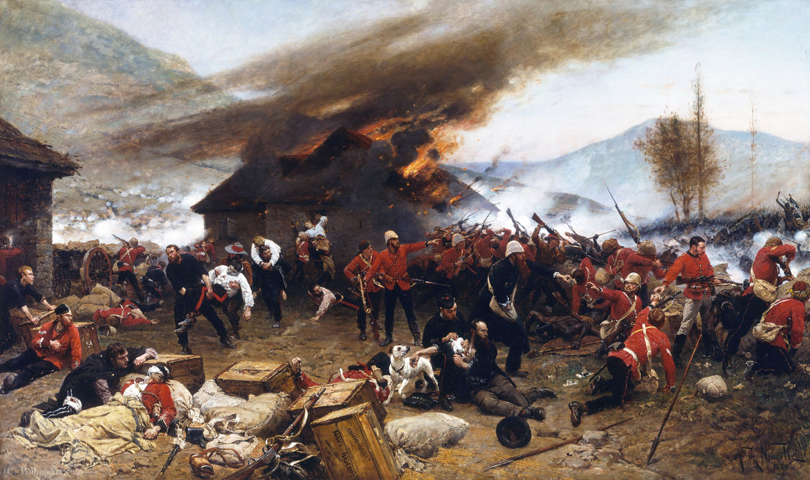 The defence of rorkes drift, 1880 by Alphonse Marie Adolphe De Neuville (1836-1885, France) | WahooArt.com