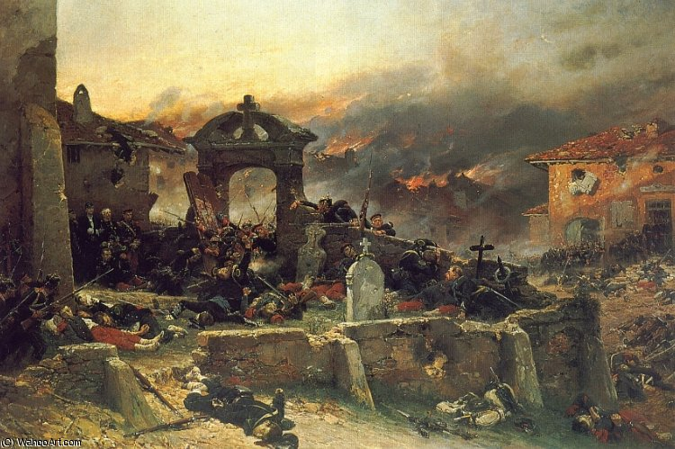 The Cemetery at St Privat by Alphonse Marie Adolphe De Neuville (1836-1885, France)
