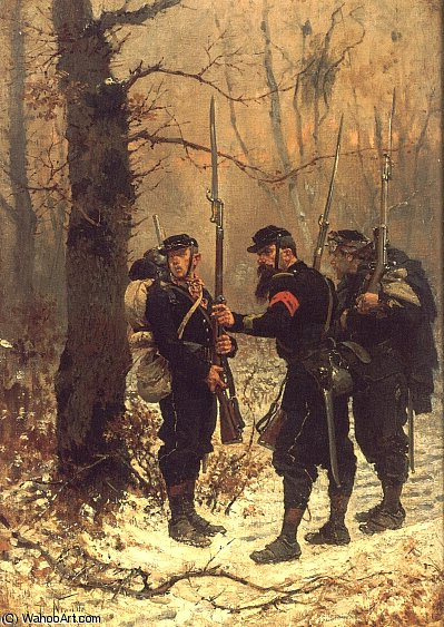 Order Art Reproduction : The post of danger by Alphonse Marie Adolphe De Neuville (1836-1885, France) | WahooArt.com