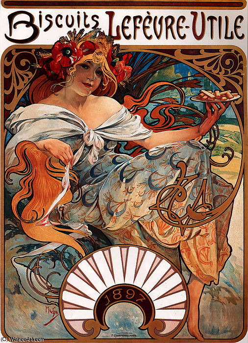 Biscuits Lefevre-Utile litho, 1896 by Alfons Maria Mucha (1860-1939, Czech Republic) | Art Reproduction | WahooArt.com