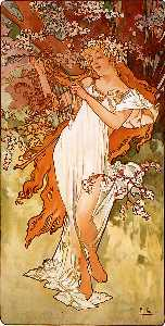 Alfons Maria Mucha - Spring panel