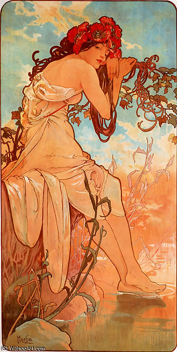 Summer panel, 1896 by Alfons Maria Mucha (1860-1939, Czech Republic) | Museum Quality Reproductions | WahooArt.com