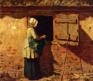 Anton Mauve - A peasant woman by a barn