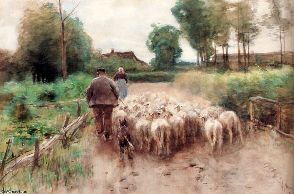 Bringing home the flock by Anton Mauve (1838-1888, Netherlands) | Reproductions Anton Mauve | WahooArt.com