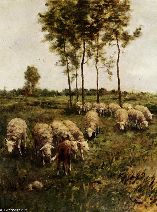Watching the flock by Anton Mauve (1838-1888, Netherlands) | Reproductions Anton Mauve | WahooArt.com