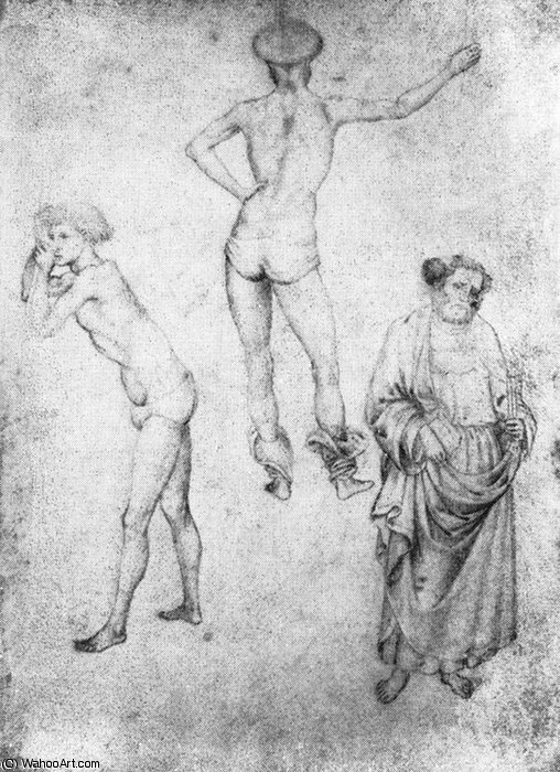 Nude men and st peter by Pisanello (1395-1455, Italy) | Museum Quality Reproductions | WahooArt.com