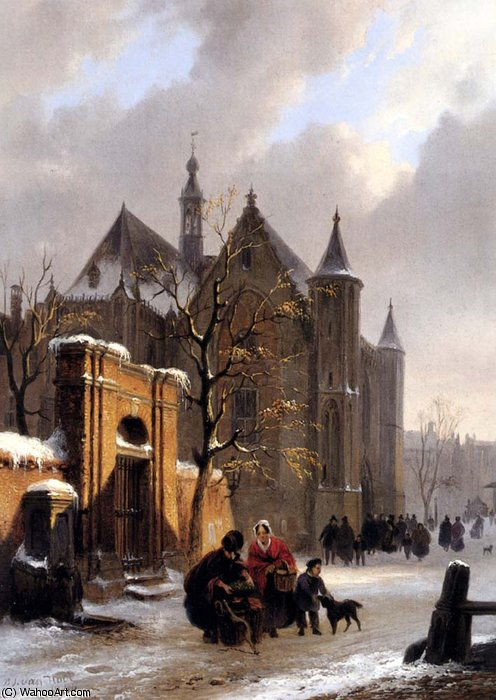 A capricio view with figures leaving a church in winter by Bartholomeus Johannes Van Hove (1790-1880, Netherlands)