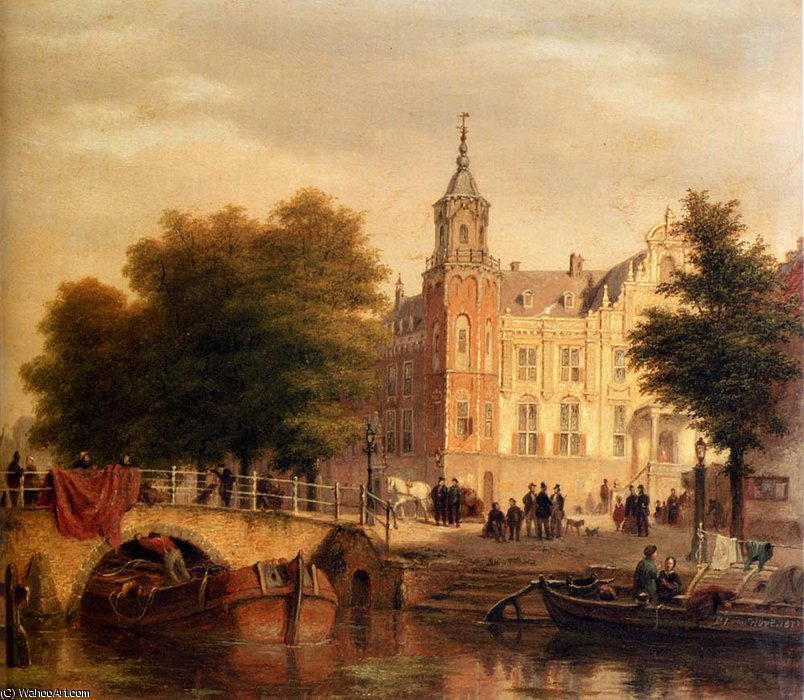 A sunlit townview with figures gathered on a square along a canal by Bartholomeus Johannes Van Hove (1790-1880, Netherlands)