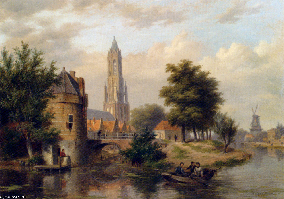 View of a riverside dutch town by Bartholomeus Johannes Van Hove (1790-1880, Netherlands)