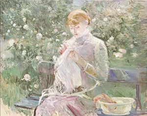 Berthe Morisot - Young Woman Sewing in a Garden