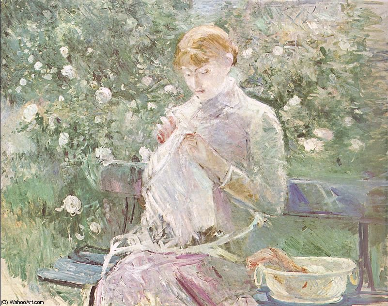 Young Woman Sewing in a Garden by Berthe Morisot (1841-1895, France) | Oil Painting | WahooArt.com