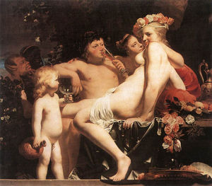 Caesar Van Everdingen (Cesar Pietersz) - Bacchus with Two Nymphs And Cupid