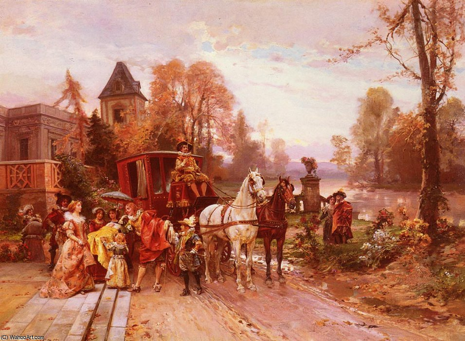 The arrival of the baby by Cesare Augusto Detti | Painting Copy | WahooArt.com