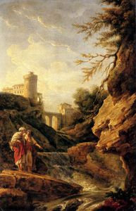 Claude Joseph Vernet - Two female peasants by a waterfall