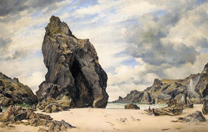 Edward William Cooke - Steeple rock kynance cove lizard cornwall low water