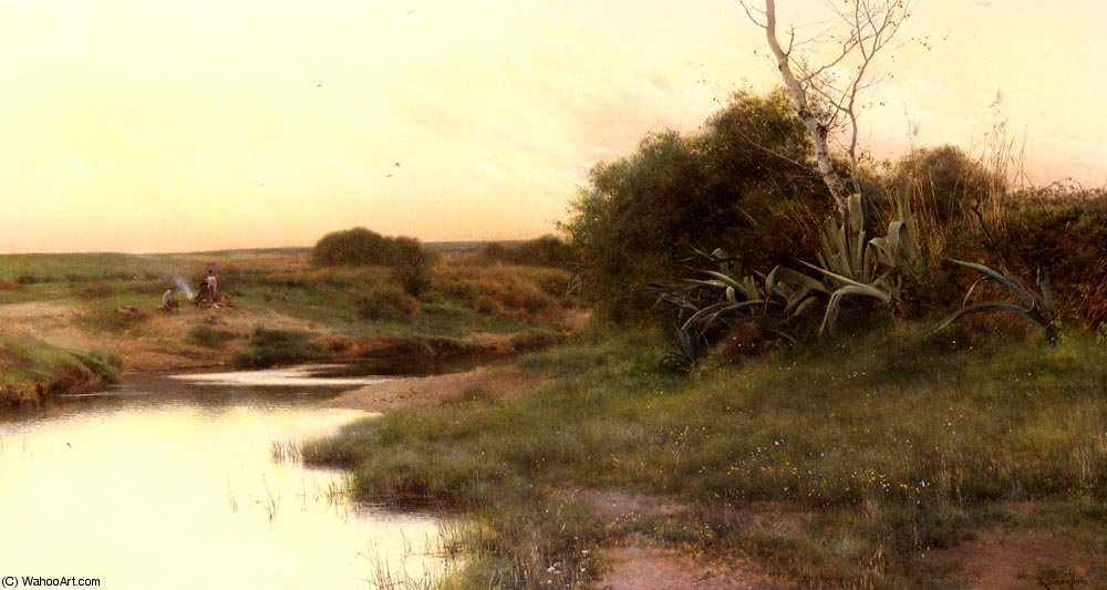 On_The_River s_Edge_At_Dusk by Emilio Sanchez-Perrier (1855-1907, Spain) | Painting Copy | WahooArt.com