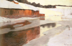 Frits Thaulow - A factory Building Near An Icy River In Winter