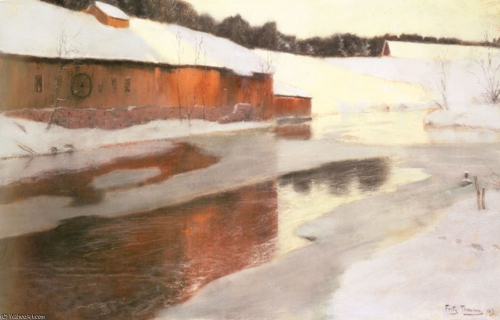A factory Building Near An Icy River In Winter by Frits Thaulow (1847-1906, Norway) | Art Reproductions Frits Thaulow | WahooArt.com
