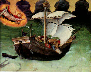 Gentile Da Fabriano - Quaratesi altarpiece storm tossed ship