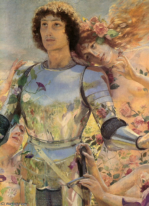 The Knight of the Flowers detail left by Georges Antoine Rochegrosse (1859-1938, France) | Museum Quality Reproductions | WahooArt.com