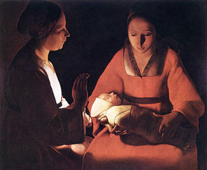 Order Museum Quality Reproductions : The New born by Georges De La Tour (1593-1652, France) | WahooArt.com