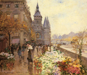 Georges Stein - A flower market along the seine