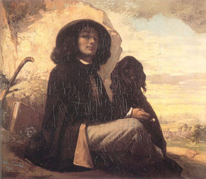 Gustave Courbet - Self Portrait Courbet with a Black Dog