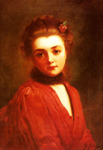 Gustave Jean Jacquet - Portrait of a girl in a red dress