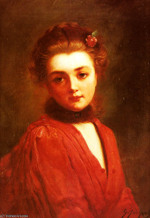 Portrait of a girl in a red dress by Gustave Jean Jacquet (1846-1909, France) | Museum Quality Reproductions | WahooArt.com