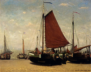 Hendrik Willem Mesdag - The bomschuit prinses sophie on the beach scheveningen