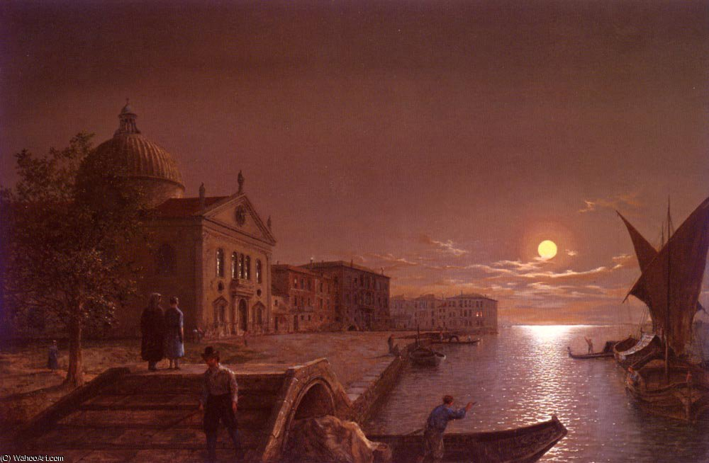 Moonlight in venice by Henry Pether (1828-1865, United Kingdom) | Museum Quality Reproductions | WahooArt.com