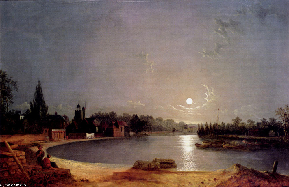 The thames at moonlight twickenham by Henry Pether (1828-1865, United Kingdom)