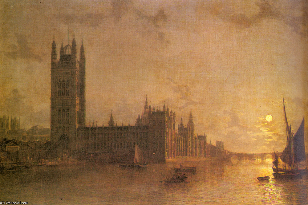 Westminster abbey the houses of parliament with the construction of westminister bridge by Henry Pether (1828-1865, United Kingdom) | WahooArt.com