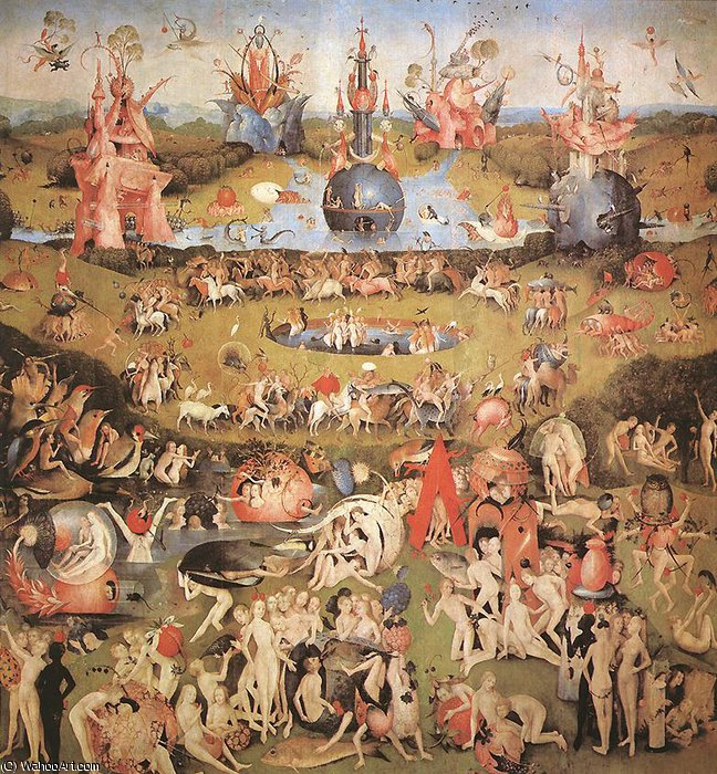 Garden of Earthly Delights central panel of the triptych by Hieronymus Bosch (1450-1516, Netherlands)
