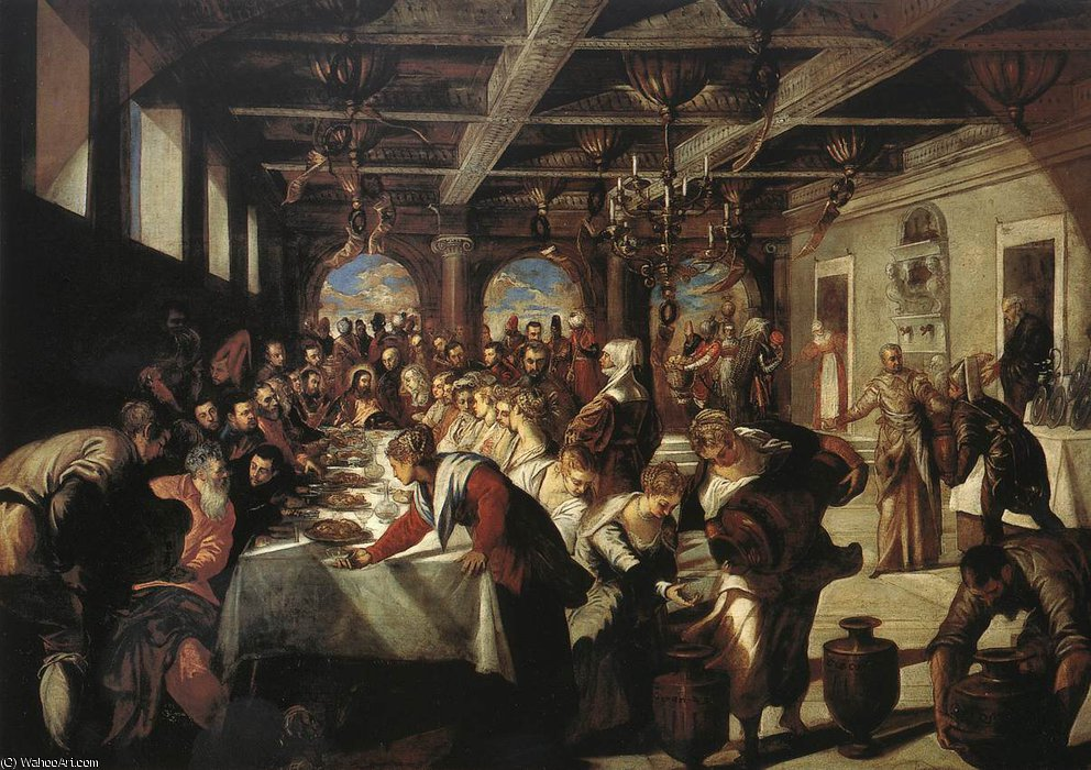 Marriage at Cana by Tintoretto (Jacopo Comin) (1518-1594, Italy)