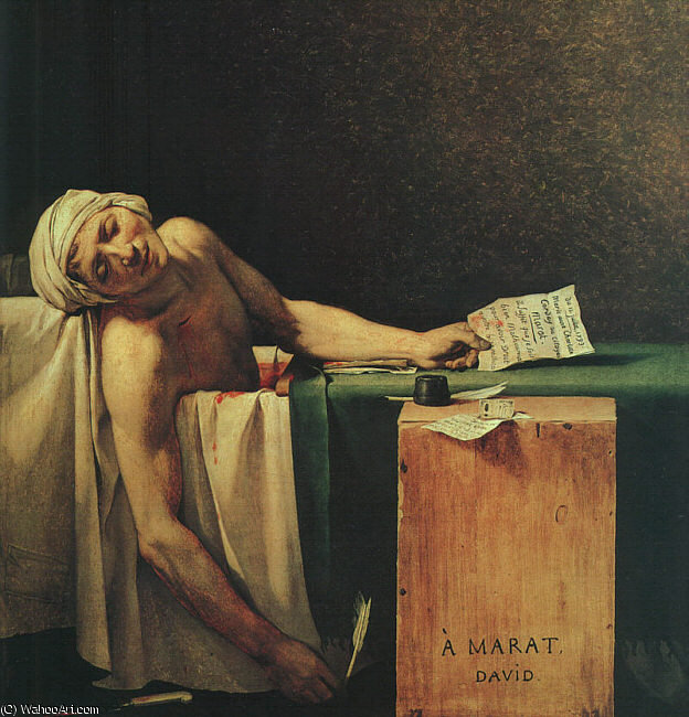 The Death of Marat by Jacques Louis David (1748-1800, France) | Oil Painting | WahooArt.com
