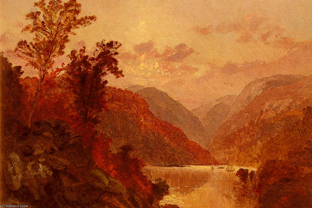 in the highlands of the hudson by Jasper Francis Cropsey (1823-1900, United States)
