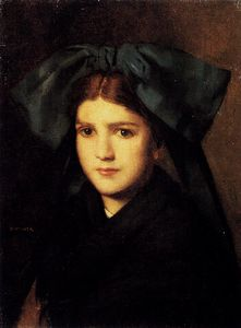 Jean Jacques Henner - Hener jean jacques a portrait of a young girl with a box in her hat