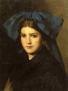 Jean Jacques Henner - Portrait of a Young Girl with a Bow in Her Hair