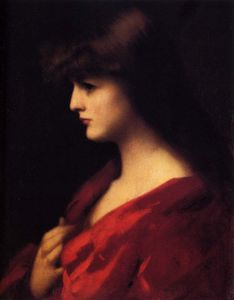 Jean Jacques Henner - Study of a woman in red