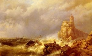Johannes Hermanus Koekkoek - A shipwreck in stormy seas