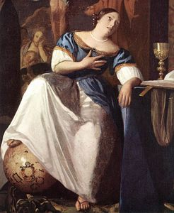 Jan Vermeer - The Allegory of the Faith detail