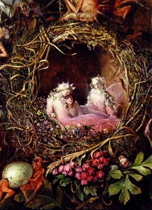 John Anster Christian Fitzgerald - Fairies In A Birds Nest detail