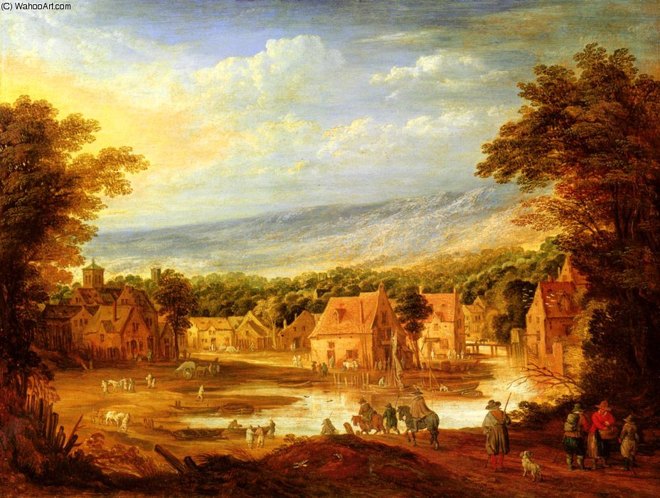 An extensive river landscape with travellers approaching a village by Joos De Momper The Younger (1564-1635)