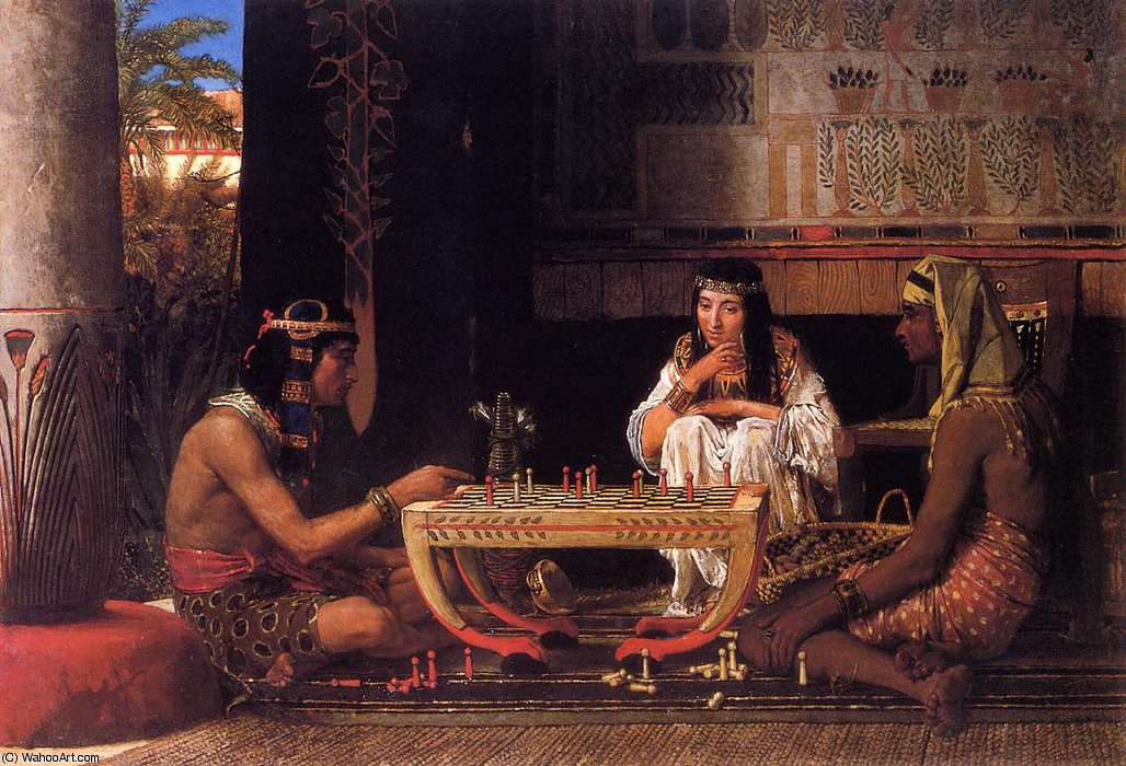Egyptian chess players by Lawrence Alma-Tadema (1836-1912, Netherlands) | Art Reproduction | WahooArt.com