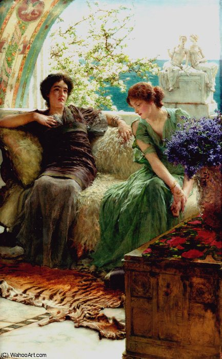 Unwelcome confidences by Lawrence Alma-Tadema (1836-1912, Netherlands) | Famous Paintings Reproductions | WahooArt.com