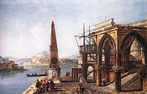 Michele Marieschi - Imaginative View with Obelisk