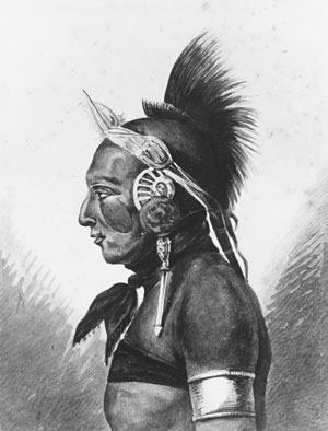 An osage warrior by Pavel Petrovich Svinin (1787-1839, Russia)